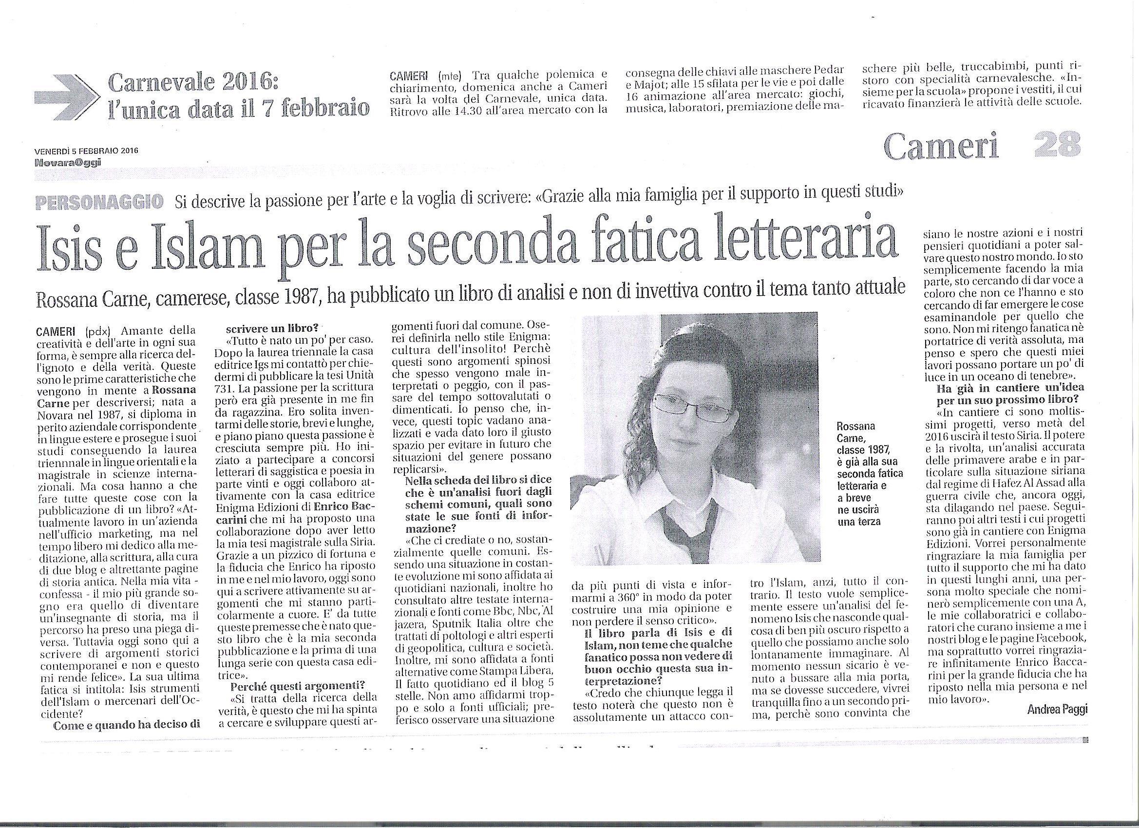 """NOVARA OGGI dedica un articolo a """"Isis: Strumenti dell'Islam o Mercenari dell'Occidente"""" di Rossana Carne"""