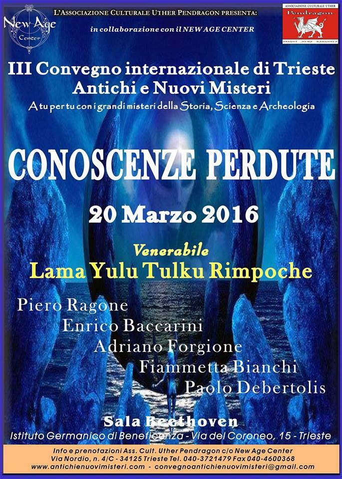 Trieste – il 20 marzo 2016 Enrico Baccarini parteciperà al convegno CONOSCENZE PERDUTE
